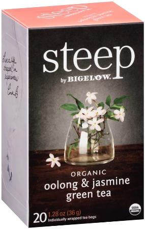 STEEP BY BIGELOW TEA BAGS OOLONG & JASMINE GREEN 20's