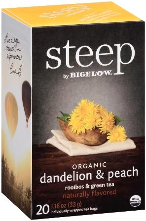 STEEP BY BIGELOW TEA BAGS DANDELION & PEACH, ROOIBOS & GREEN 20's